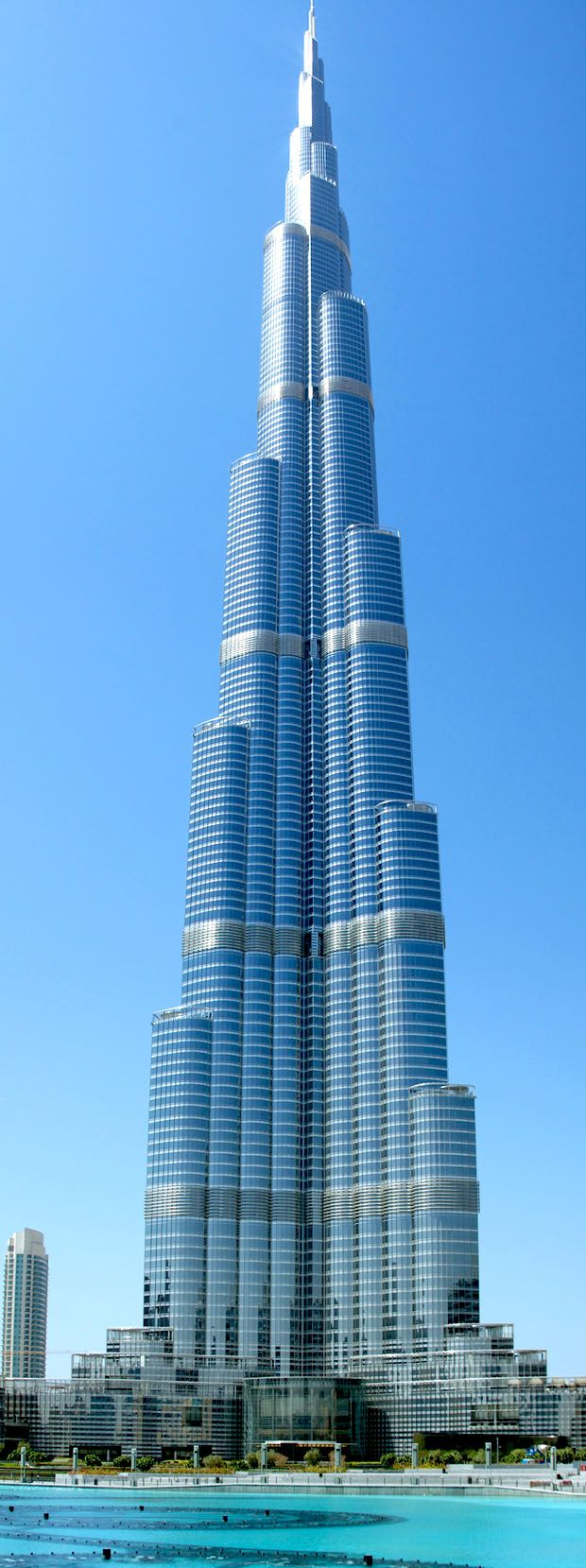 The world's tallest tower, the Burj Khalifa in Dubai is 828m high